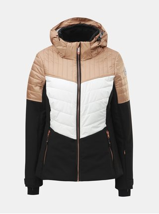 Béžovo–čierna dámska nepremokavá lyžiarska bunda killtec Jannali