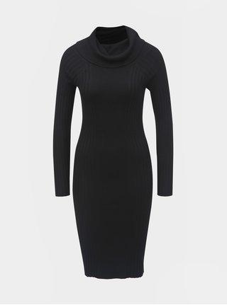 Čierne puzdrové svetrové šaty s golierom a dlhým rukávom Noisy May Vicki
