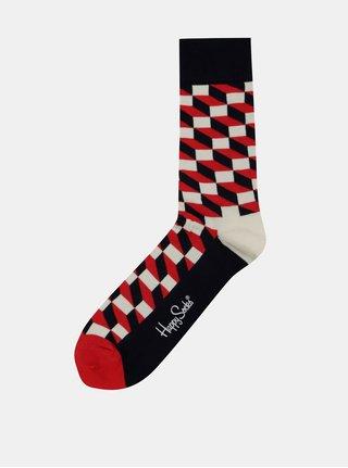 Červeno-bílo-modré unisex vzorované ponožky Happy Socks Filled Optic