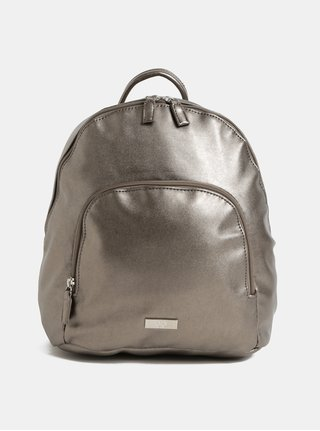 Koženkový batoh ve stříbrné barvě s metalickými odlesky a přední kapsou ZOOT