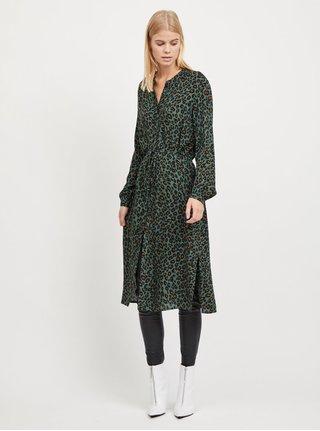 Tmavě zelené leopardí košilové šaty VILA Kamia