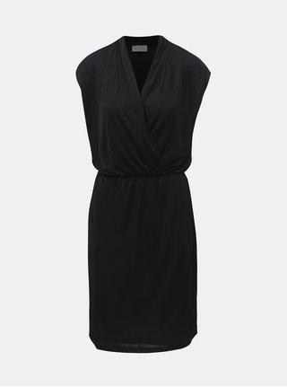 Černé šaty bez rukávů s překládaným výstřihem VILA Satina