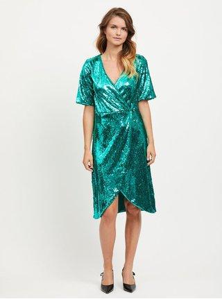 Zelené šaty s flitry VILA Lilja e72cb89353