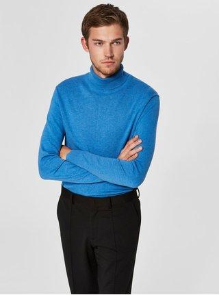 Modrý sveter s rolákom a prímesou hodvábu Selected Homme Tower