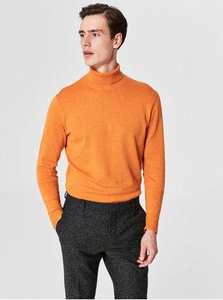 Oranžový svetr s rolákem a příměsí hedvábí Selected Homme Tower
