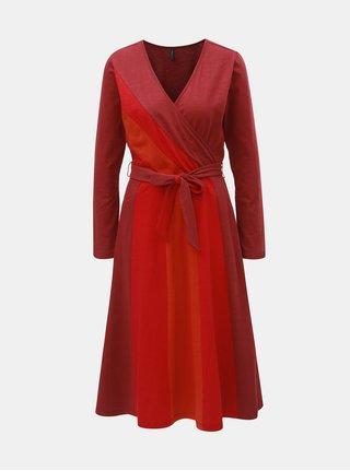 Tehlové šaty s prekladaným výstrihom Tranquillo Pandina