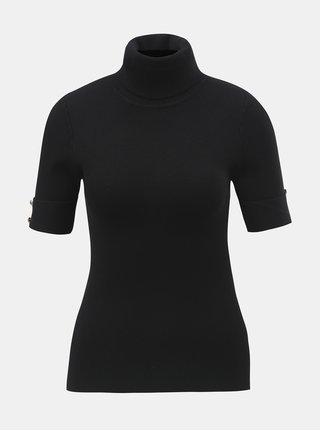 Čierny svetrový top s rolákom a krátkym rukávom ZOOT