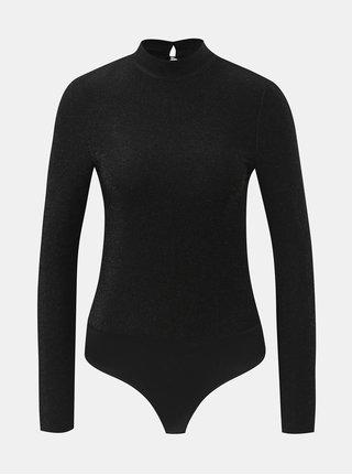 Body negru cu guler inalt si efect stralucitor Noisy May Infinity