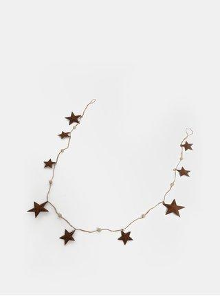 Hnědá girlanda s kovovými hvězdami Kaemingk