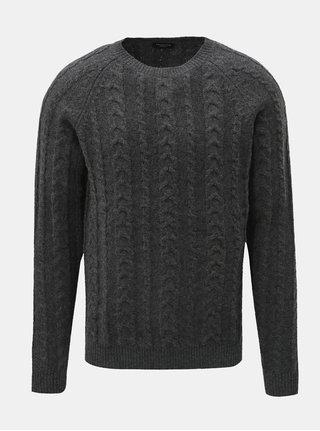 Sivý vlnený sveter s okrúhlym výstrihom Selected Homme Bravo