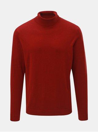 Červený svetr s rolákem a příměsí hedvábí Selected Homme Tower