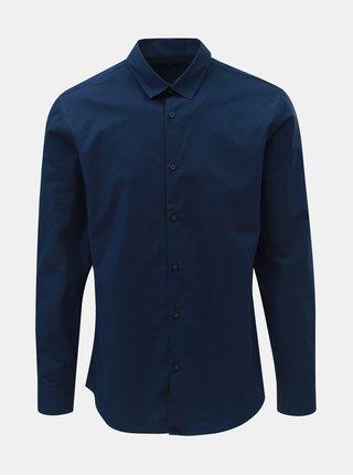 Tmavomodrá slim fit košeľa s drobnými pruhmi Selected Homme Slim John