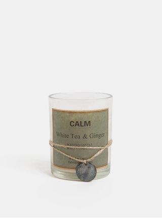 Bílá svíčka ve skle s vůní bílého čaje a zázvoru Kaemingk