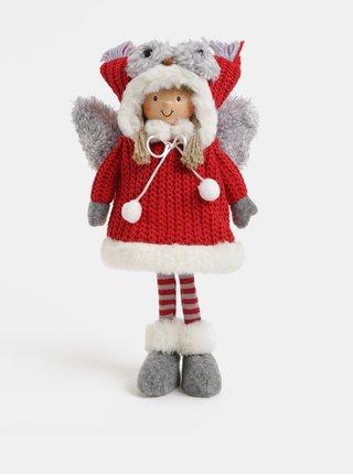 Šedo-červená vánoční figurka s křídly a čepicí ve tvaru sovy Kaemingk
