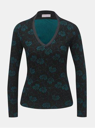 Zeleno–čierny vzorovaný vlnený top s prímesou hodvábu La femme MiMi