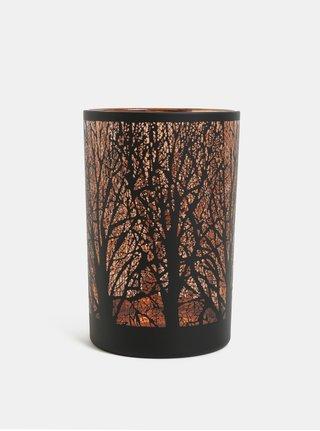 Skleněný svícen v černé a bronzové barvě s motivem lesa Kaemingk