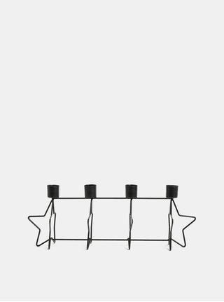 Suport de lumanari negru din metal in forma de stele Kaemingk
