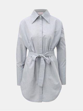 Svetlosivá melírovaná dlhá košeľa s opaskom La femme MiMi