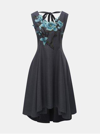 Tmavosivé šaty s prímesou kašmíru a kvetovanou výšivkou La femme MiMi
