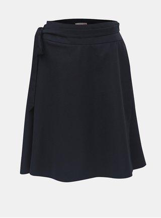 Tmavomodrá zavinovacia sukňa s prímesou kašmíru a so skladmi v zadnej časti La femme MiMi