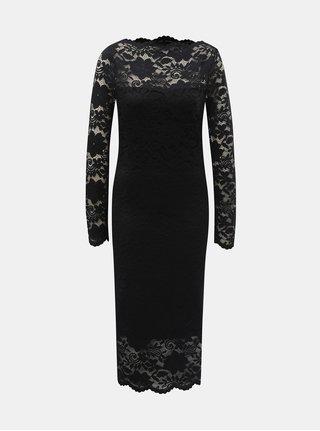 Černé pouzdrové krajkové šaty s dlouhým rukávem VILA Grit