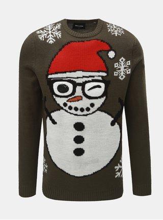Khaki svetr s vánočním motivem ONLY & SONS Snowman
