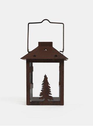 Tmavě hnědá malá lucerna s motivem stromu Kaemingk