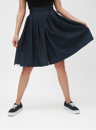 Pantaloni culottes scurti negru-albastru cu model si talie inalta SEVERANKA