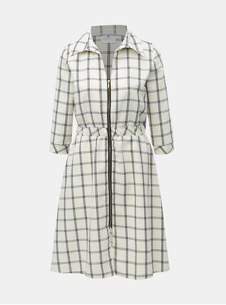 Černo-krémové kostkované šaty s gumou v pase a 3/4 rukávem SEVERANKA
