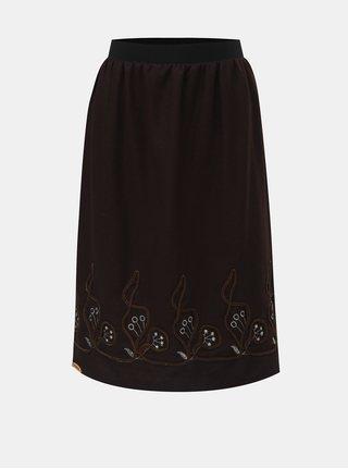 Tmavě hnědá sukně s vyšíváním SEVERANKA