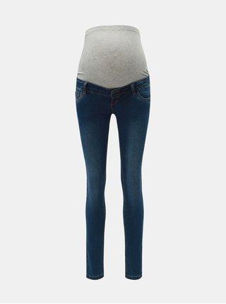 Tmavě modré těhotenské slim džíny s vyšisovaným efektem Mama.licious