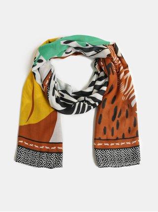 Hnědo-bílý šátek s motivem listů Pieces Obina