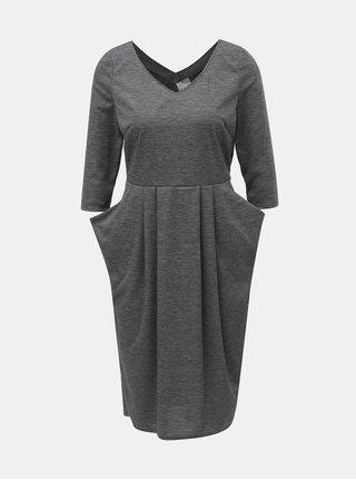 Šedé žíhané šaty s kapsami SEVERANKA