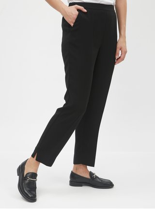 Pantaloni plisati negri pana la glezne cu talie inalta VERO MODA Hanna