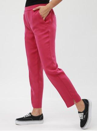 Tmavě růžové zkrácené kalhoty s puky a vysokým pasem VERO MODA Hanna