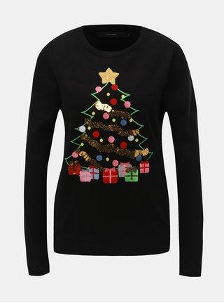 Černý svetr s flitry a vánočním motivem VERO MODA Christmas Tree