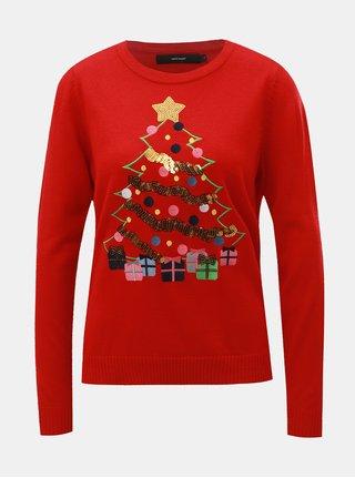 Červený svetr s flitry a vánočním motivem VERO MODA Christmas Tree