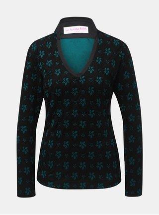 Zeleno–čierny kvetovaný vlnený top s prímesou hodvábu La femme MiMi