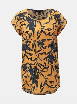 Tricou albastru-oranj floral cu maneci scurte VERO MODA Boca