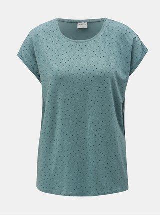 Světle modré puntíkované volné tričko s krátkým rukávem VERO MODA AWARE Plain