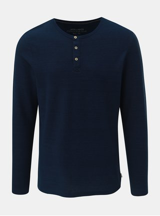 Tricou polo albastru inchis slim fit in dungi Jack & Jones Joseph