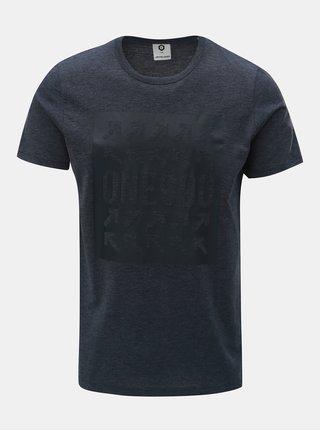 Tmavě modré žíhané slim tričko s potiskem Jack & Jones Marl