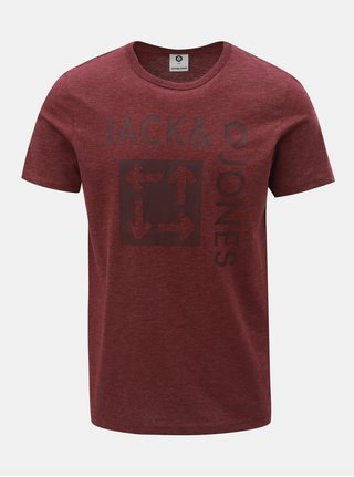 Vínové melírované slim tričko s potlačou Jack & Jones Marl