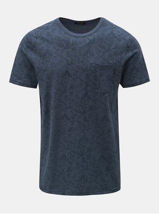 Modré květované slim tričko s náprsní kapsou Jack & Jones Terry