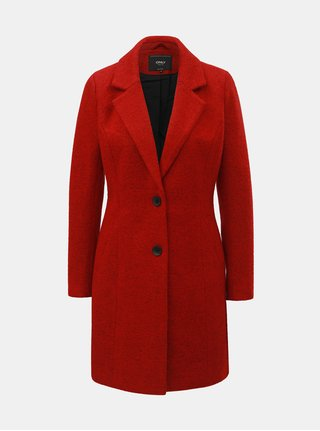 Červený žíhaný vlněný kabát ONLY Beatrice