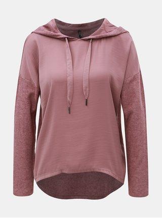 Starorůžový žíhaný lehký svetr s kapucí ONLY Ashley