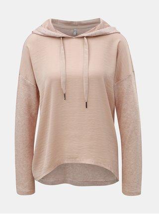 Světle růžový žíhaný lehký svetr s kapucí ONLY Ashley