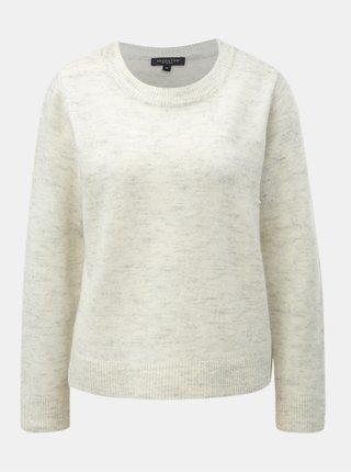Krémový melírovaný sveter s prímesou vlny Selected Femme Enva