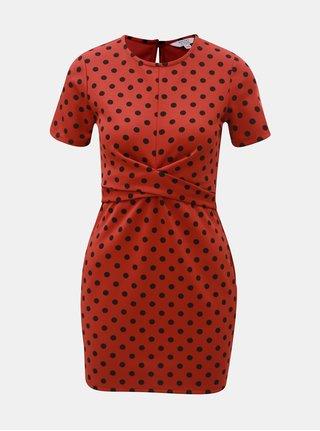 Cihlové puntíkované šaty Miss Selfridge Petites