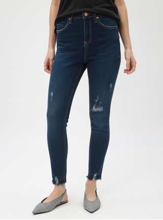 Modré super skinny džíny s potrhaným efektem Miss Selfridge Petites Lizzie
